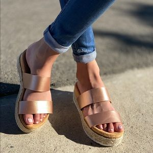 Rose Gold Espadrille Sandal